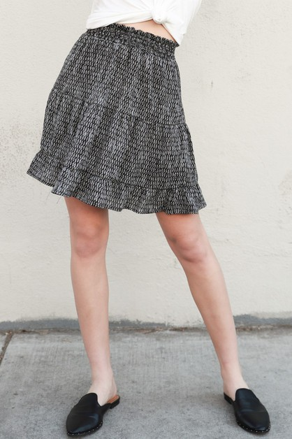 Geo Smocked Fit-Flare Mini Skirt - orangeshine.com