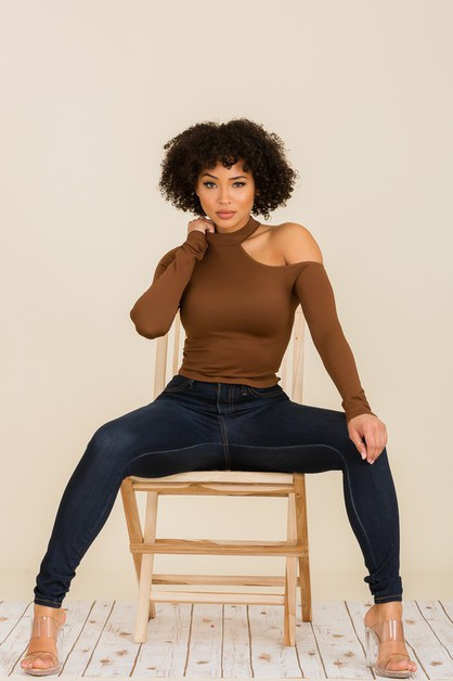 Mock neck One shoulder Top - orangeshine.com