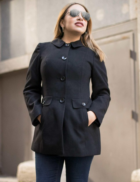 Plus Size Single Breasted Peacoat - orangeshine.com