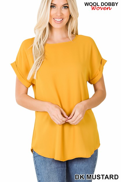WOVEN WOOL DOBBY ROLLED SLEEVE TOP - orangeshine.com
