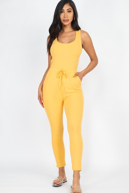 Ribbed Drawstring Jumpsuit - orangeshine.com