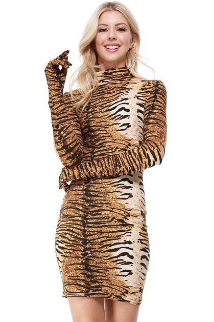 Tiger Print Long Glove Sleeve Dress - orangeshine.com