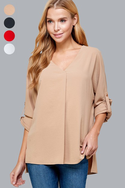 V-neck Button Sleeves Fashion Top - orangeshine.com