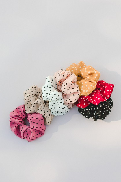 7-pack Heart Scrunchie - orangeshine.com