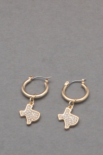 TEXAS STATE MAP DANGLE EARRING  - orangeshine.com
