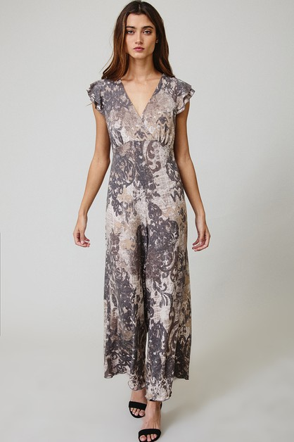 Ethnic Print V-neck Jumpsuit - orangeshine.com