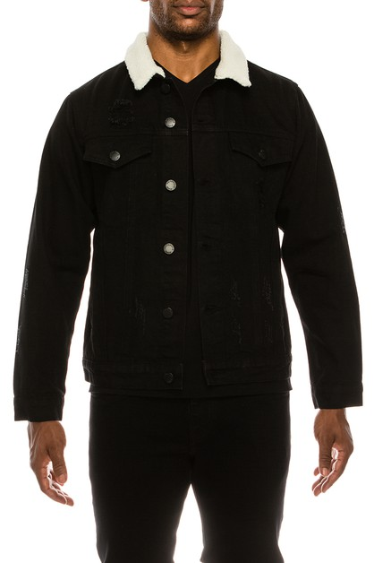 MEN DISTRESSED SHERPA DENIM JACKET - orangeshine.com