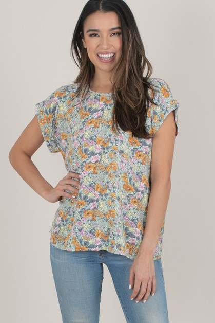 Floral Cuffed Sleeve Top - orangeshine.com