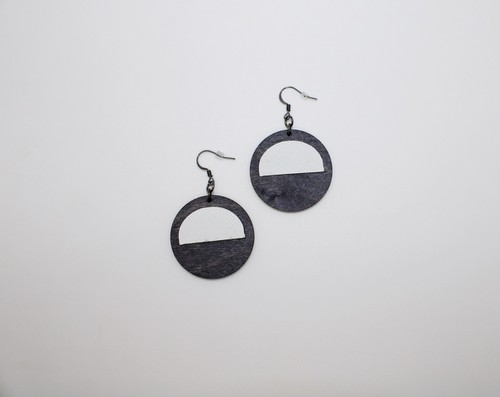Circle leather-wood crescent earring - orangeshine.com