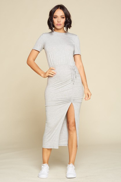 CASUAL MIDI BODYCON DRESS - orangeshine.com