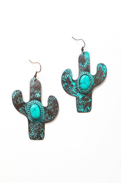 Turquoise Cactus Drop Earrings - orangeshine.com