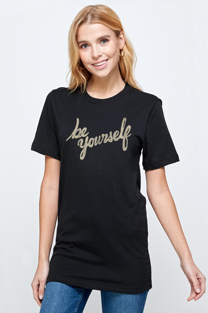 Roll sleeve with BE YOURSELF T-Shirt - orangeshine.com