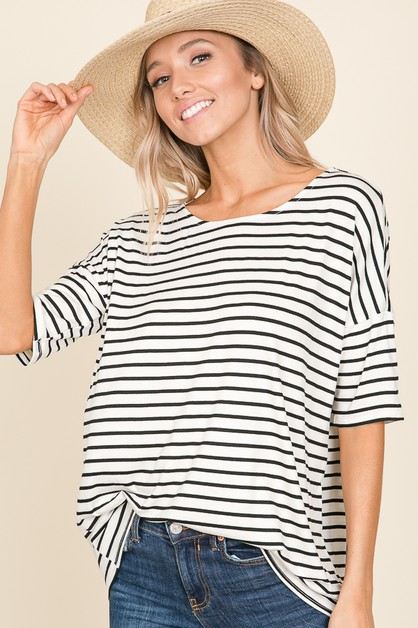 CASUAL SHORT SLEEVE STRIPE TOP - orangeshine.com