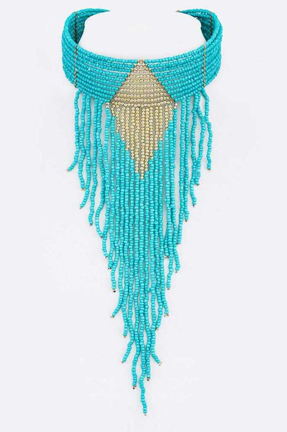 Fringe Seed Beads Statement Choker - orangeshine.com