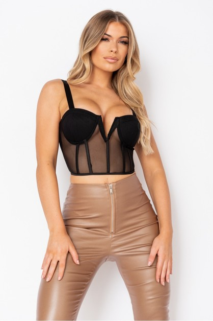 Black Bust Cup Mesh Strappy Top - orangeshine.com