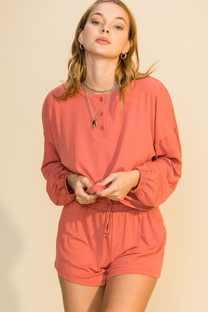 LONG SLEEVE BUTTON FRONT TOP N SHORT - orangeshine.com
