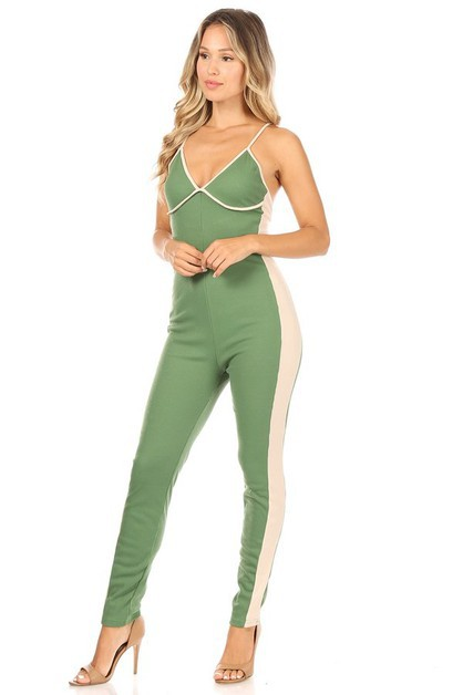 Contrast Color Halter Jumpsuit - orangeshine.com