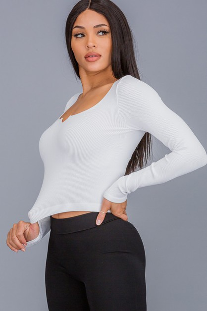 SOLID CASUAL LONG SLEEVE CROP TOP - orangeshine.com