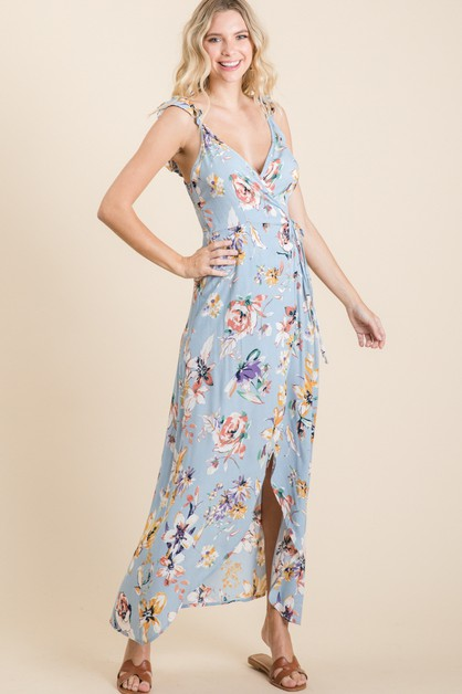 Floral Surplice Wrap Maxi Dress - orangeshine.com