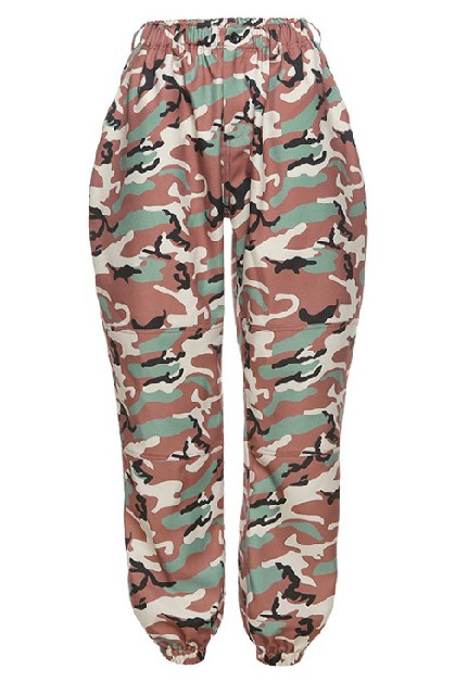 Camo Printed High Waist Strappy Pant - orangeshine.com