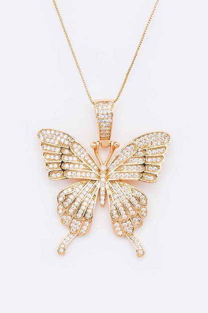 CZ Pave Butterfly Pendant Necklace - orangeshine.com