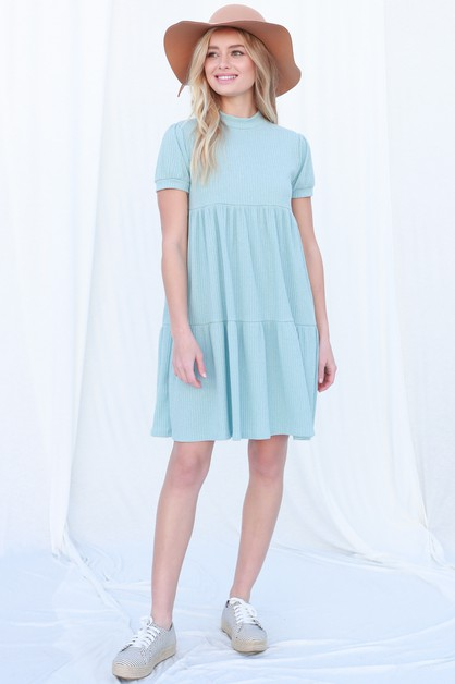 Ribbed Tiered Swing Dress - orangeshine.com