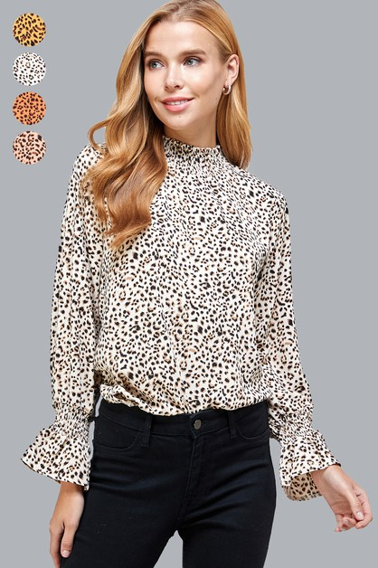 Animal Print Peasant Sleeves Top - orangeshine.com