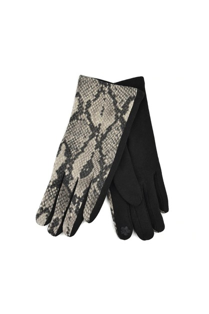 Womens Snakeskin Print Gloves - orangeshine.com