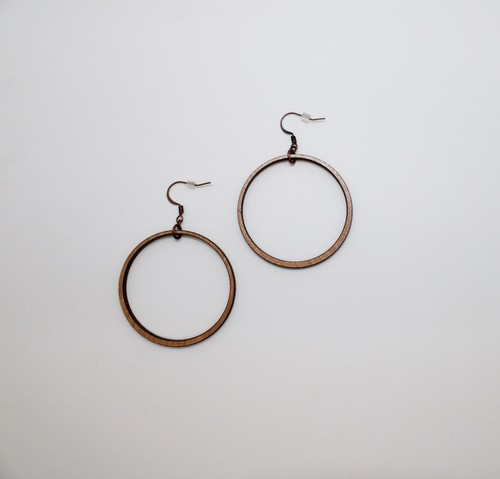 Round Cut Out Cherry Wood Earrings - orangeshine.com