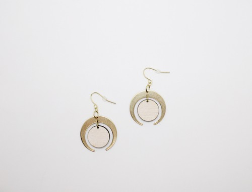 Brass and Wood Crescent Earrings - orangeshine.com