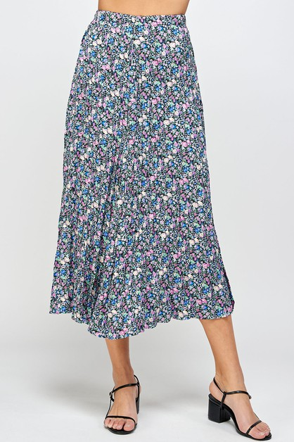 PLEATED FLORAL MIDI SKIRT - orangeshine.com
