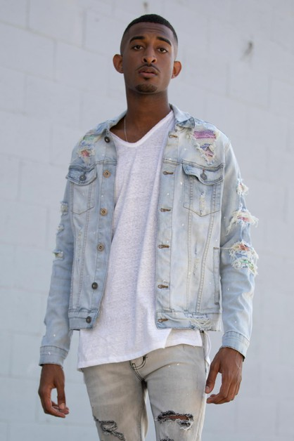 RAINBOW PATCHED DENIM JACKET - orangeshine.com