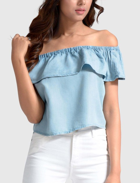 WOMENS TOP DENIM OFF SHOULDER RUF - orangeshine.com
