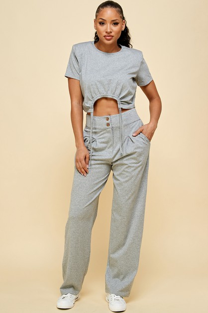 Crop top and pleated trouser set - orangeshine.com