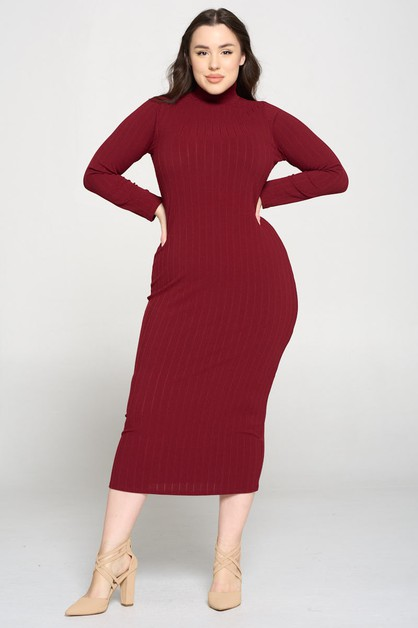 Long Sleeve Knit RIB Midi Dress - orangeshine.com