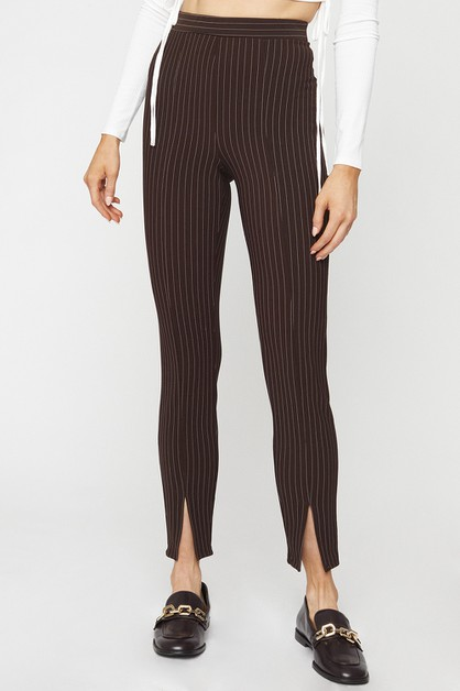STRIPED SPLIT HEM PANTS - orangeshine.com