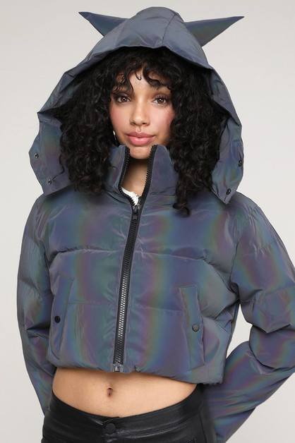Hoodie Ears Reflective Puff Jacket - orangeshine.com