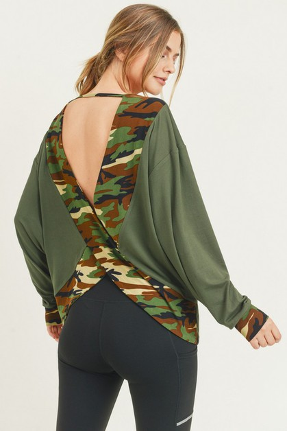 Camouflage Striped Surplice Open-Bac - orangeshine.com