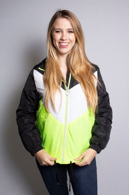 Neon Color Block Hoodie Jacket - orangeshine.com