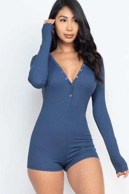 Button Neck Bodycon Romper - orangeshine.com
