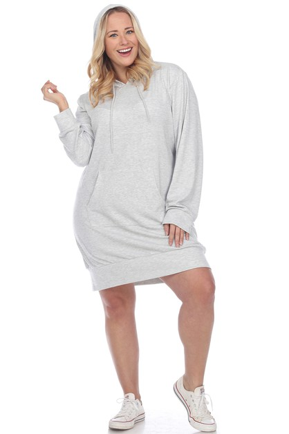 Plus Size Hoodie Sweatshirt Dress - orangeshine.com