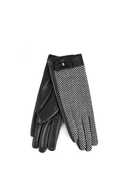 Womens Chevron and PU Leather Glove - orangeshine.com