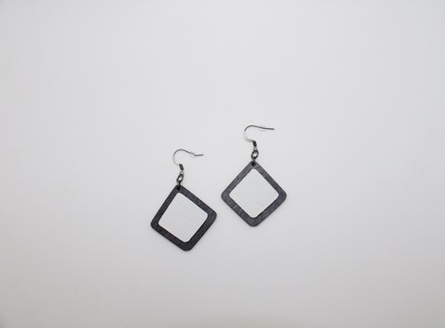 Wood-Leather Rounded Square Earrings - orangeshine.com