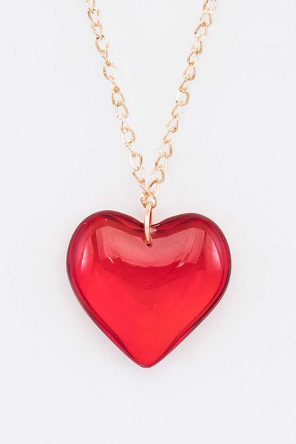 Resin Heart Pendant Necklace - orangeshine.com