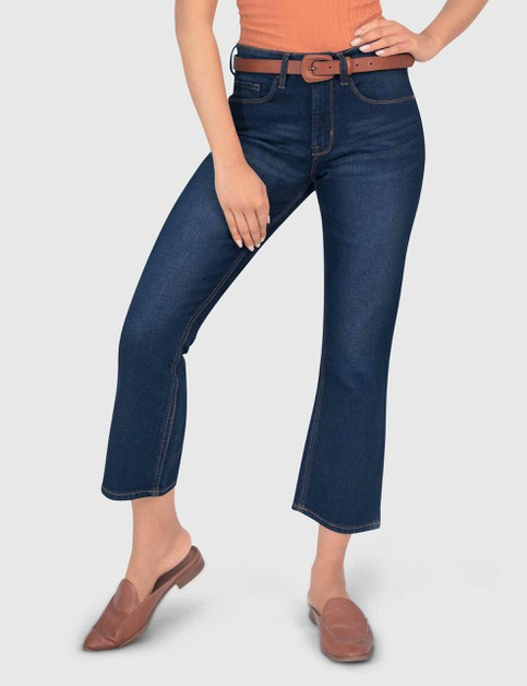 WOMENS ANKLE BOOTCUT DARK BLUE DENIM - orangeshine.com