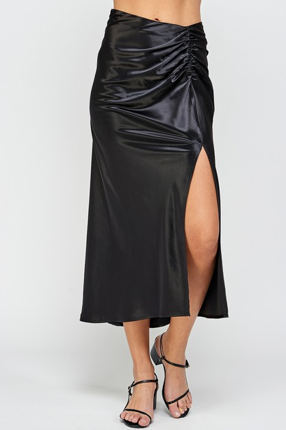 RUCHED SIDE SLIT SKIRT - orangeshine.com