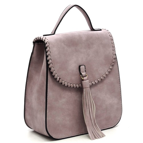 Fashion Whipstitch Tassel Flap Bag - orangeshine.com