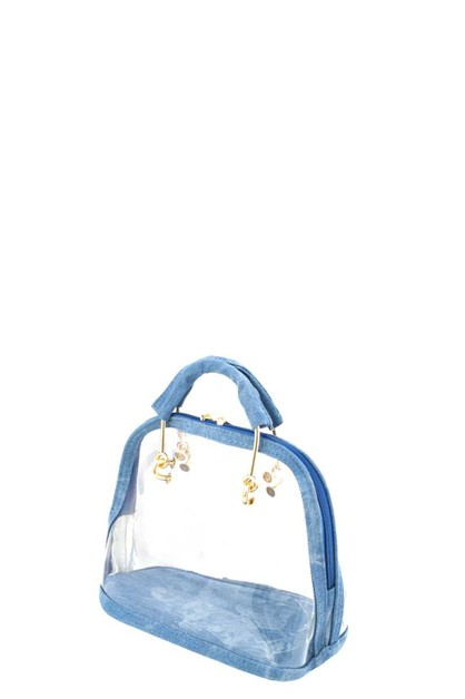 CLEAR AND DENIM HANDLE SATCHEL BAG - orangeshine.com
