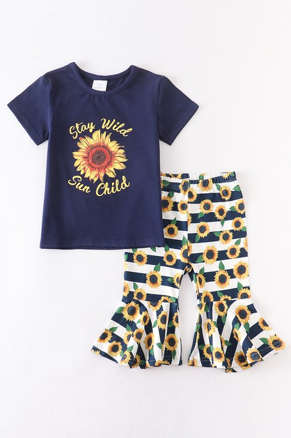 Stay wild sunflower bell pants set - orangeshine.com