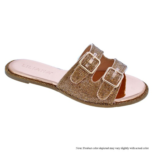 Adjustable Buckle Flat Slide Sandals - orangeshine.com